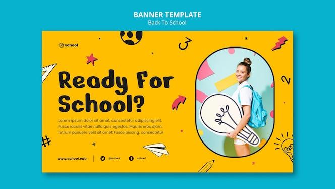 Banner horizontal de volta às aulas
