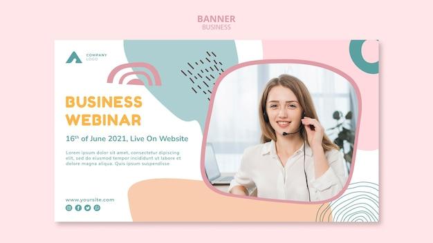 Banner horizontal de webinar de negócios