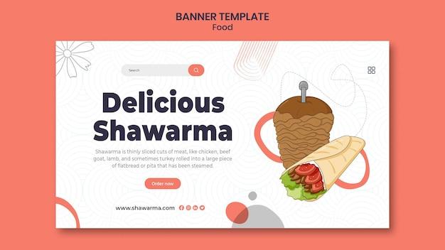Banner horizontal delicioso de shawarma