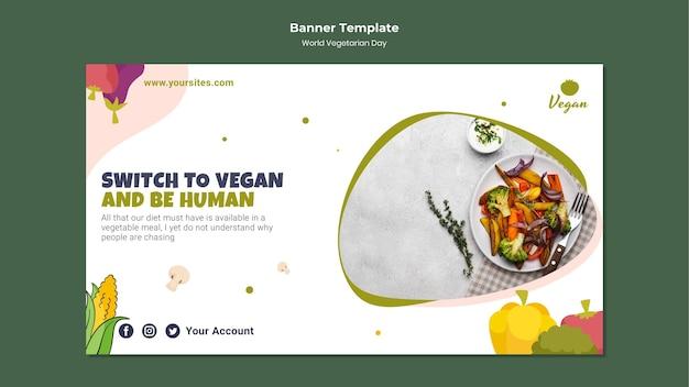 Banner horizontal do dia mundial do vegetariano