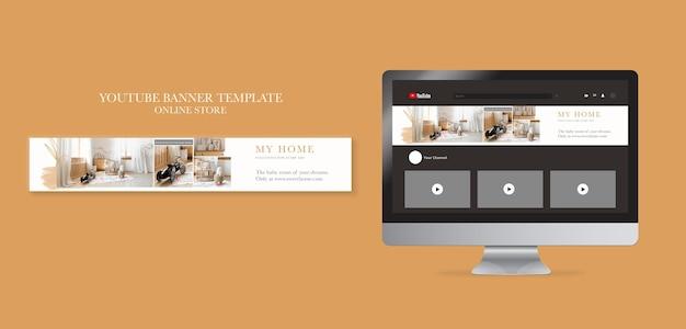 Banner horizontal do youtube para loja online de móveis para casa