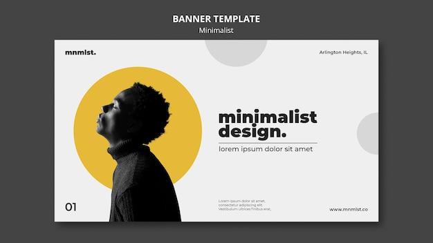 Banner horizontal em estilo minimalista para galeria de arte com homem
