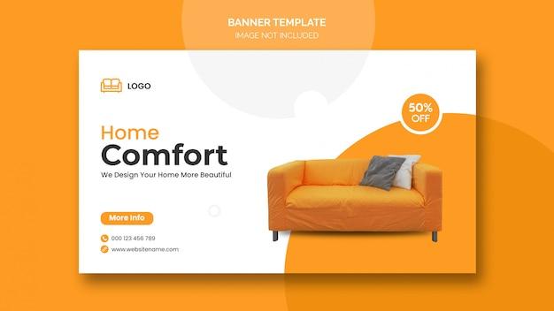 Banner horizontal ou capa do facebook com design minimalista e desconto em móveis para casa