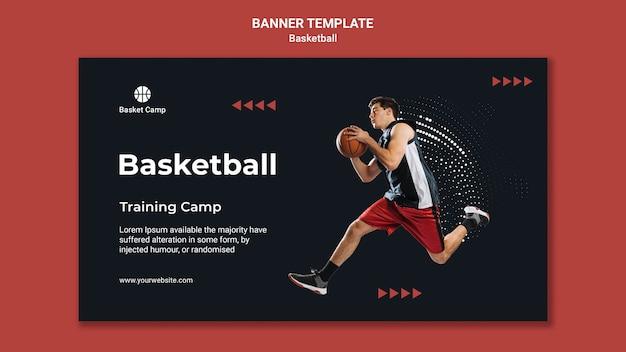Banner horizontal para acampamento de treinamento de basquete