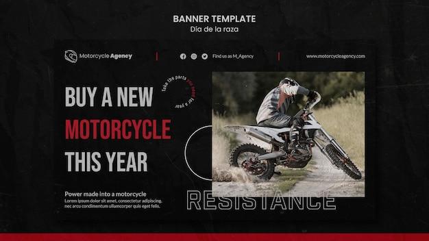 Banner horizontal para agência de motocicletas com piloto masculino