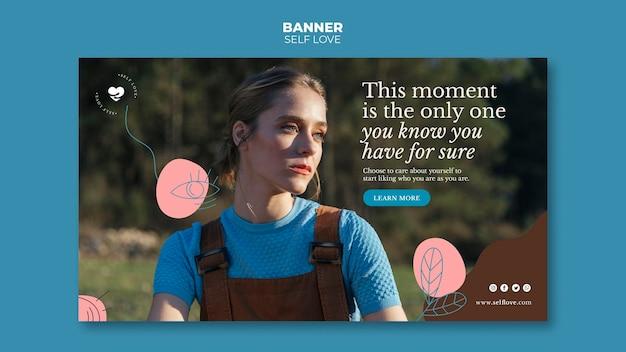 Banner horizontal para amor próprio e aceitação