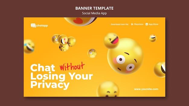 Banner horizontal para aplicativo de bate-papo de mídia social com emojis