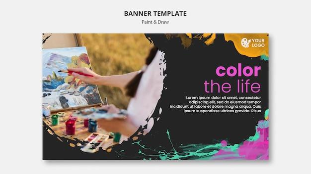 Banner horizontal para artistas de desenho e pintura