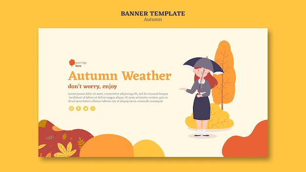 Banner horizontal para atividades ao ar livre de outono