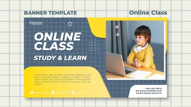 Banner horizontal para aulas online com criança