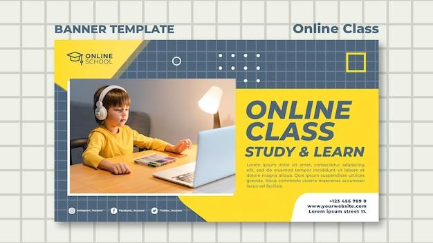 Banner horizontal para aulas online com criança Psd grátis