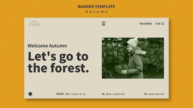 Banner horizontal para aventura de outono na floresta
