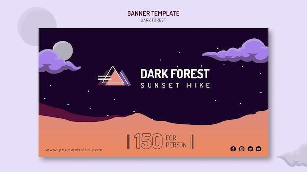 Banner horizontal para caminhada na floresta escura