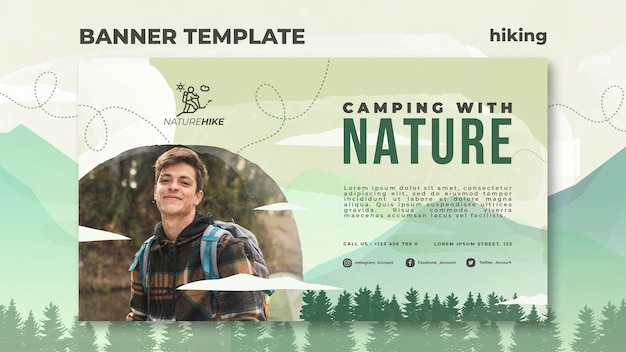 Banner horizontal para caminhadas na natureza