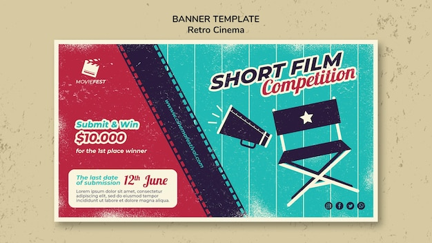 Banner horizontal para cinema retrô