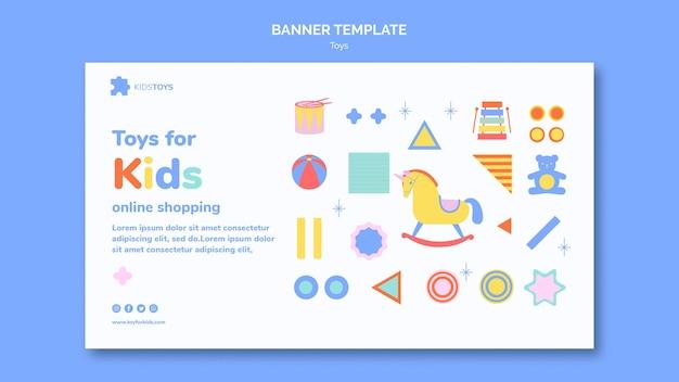 Banner horizontal para compras online de brinquedos infantis