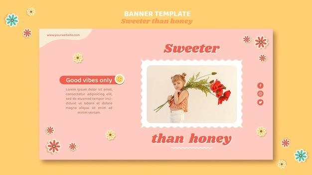 Banner horizontal para crianças com flores