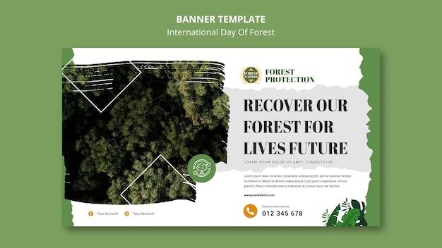 Banner horizontal para dia de floresta com natureza