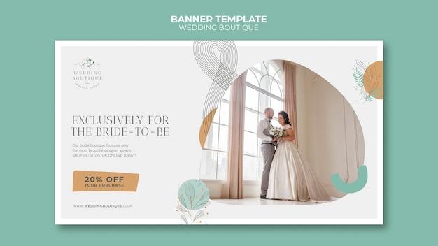 Banner horizontal para elegante boutique de casamento
