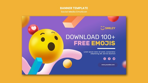 Banner horizontal para emoticons de aplicativos de mídia social
