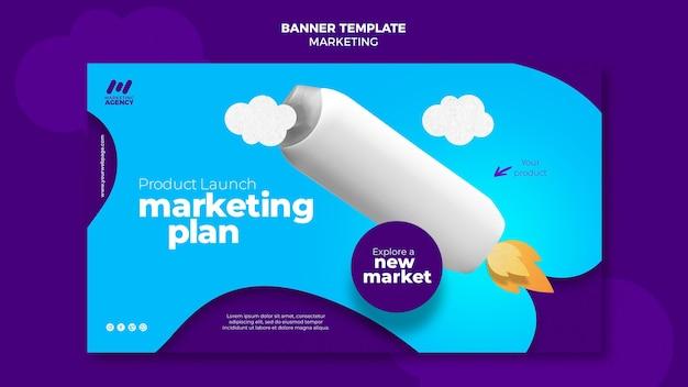 Banner horizontal para empresa de marketing com produto