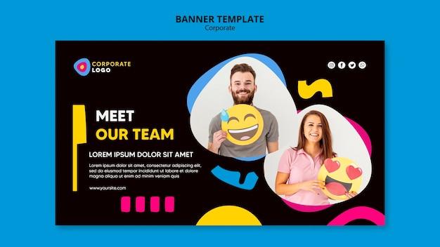 Banner horizontal para equipe corporativa criativa