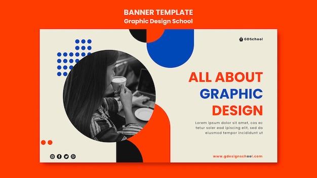 Banner horizontal para escola de design gráfico