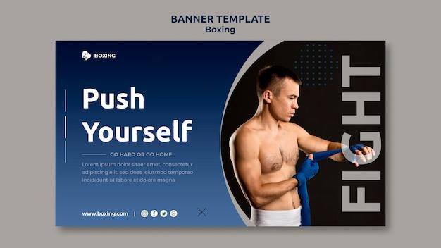 Banner horizontal para esporte de boxe com boxeador masculino