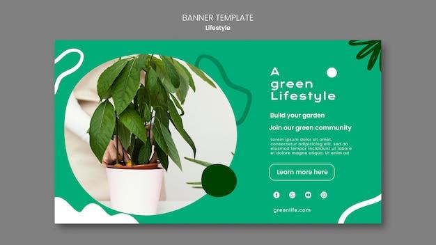 Banner horizontal para estilo de vida verde com planta