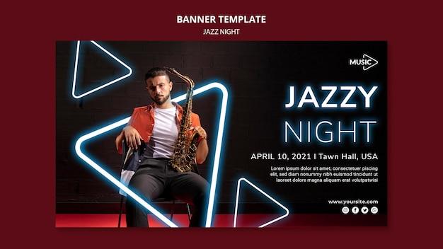 Banner horizontal para evento noturno de jazz neon