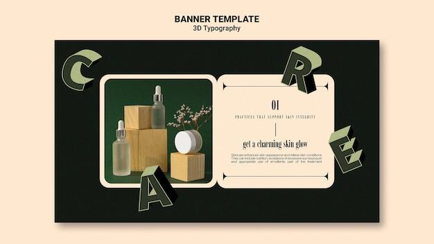 Banner horizontal para exibição de frasco de óleo essencial com letras tridimensionais