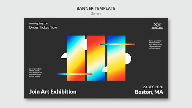 Banner horizontal para exposição de arte moderna