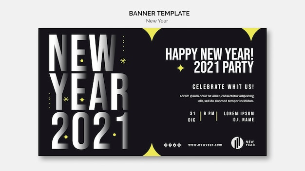 Banner horizontal para festa de ano novo