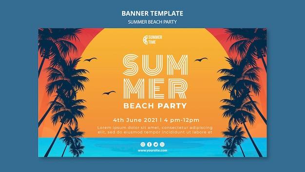 Banner horizontal para festa de verão na praia