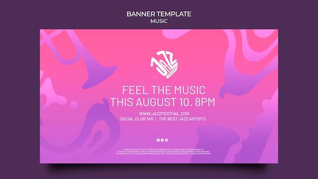 Banner horizontal para festival de jazz e clube