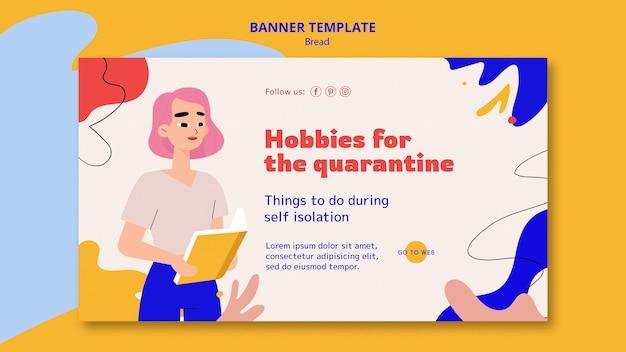 Banner horizontal para hobbies durante quarentena