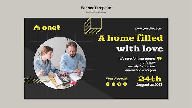 Banner horizontal para imóveis e construção
