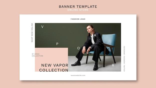 Banner horizontal para loja de moda online minimalista