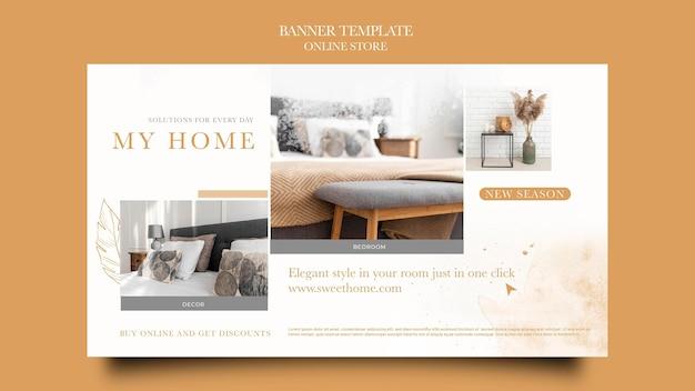 Banner horizontal para loja online de móveis para casa