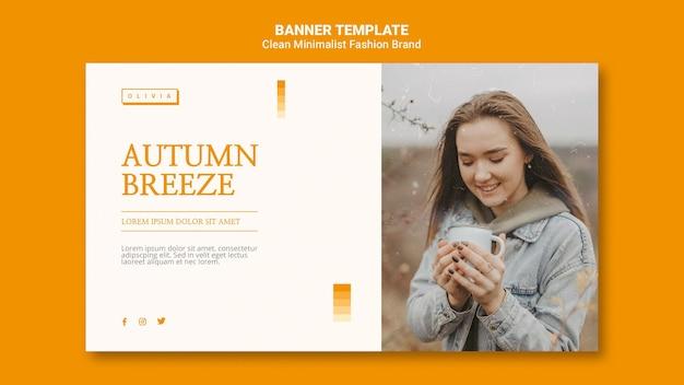 Banner horizontal para marca de moda outono minimalista