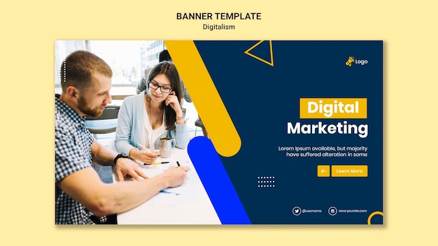 Banner horizontal para marketing digital