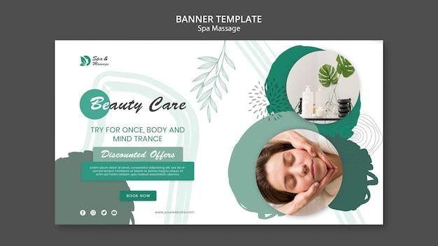 Banner horizontal para massagem spa com mulher