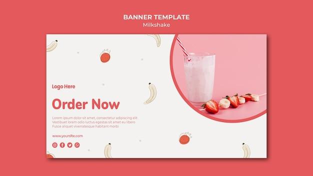 Banner horizontal para milkshake de morango