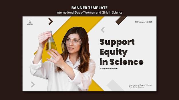 Banner horizontal para mulheres e meninas internacionais no dia da ciência