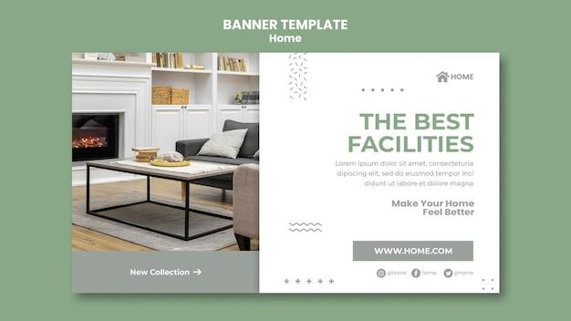 Banner horizontal para novo design de interiores de casa