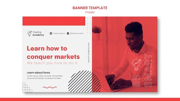 Banner horizontal para ocupação de trader de investimento