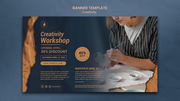 Banner horizontal para oficina de cerâmica criativa com mulher