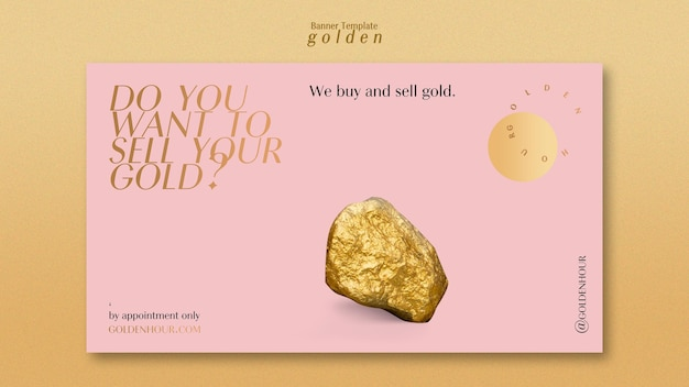 Banner horizontal para ouro luxuoso