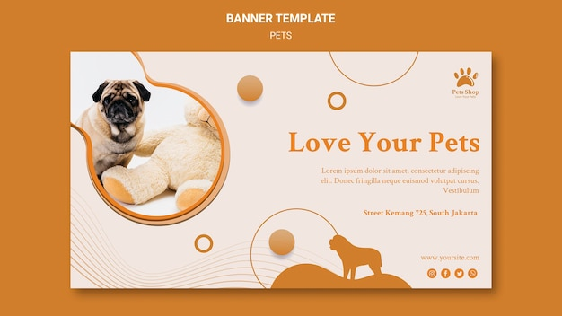 Banner horizontal para pet shop com cachorro
