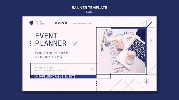 Banner horizontal para planejamento de eventos sociais e corporativos